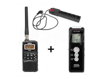 Souprava pro odposlech WSR-2: štěnice v prodlužovačce, přijímač Uniden a diktafon k záznamu zvuku