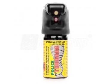 Pepřový sprej se svítilnou LED pro sebeobranu Police Tornado